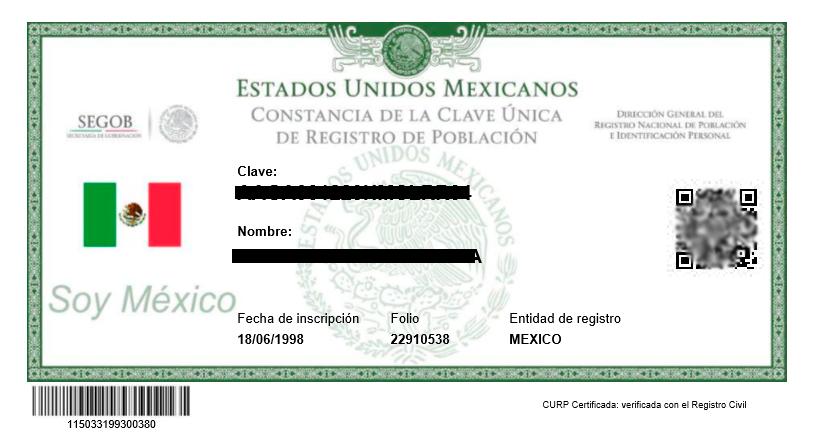 Ejemplo de CURP Mexicana