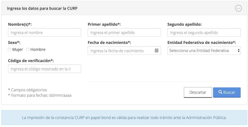 Consultar la CURP