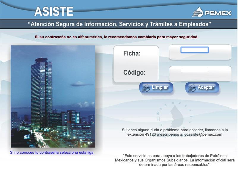 Portal ASISTE de PEMEX en su versión web