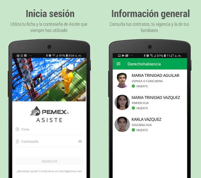 App de ASISTE de PEMEX