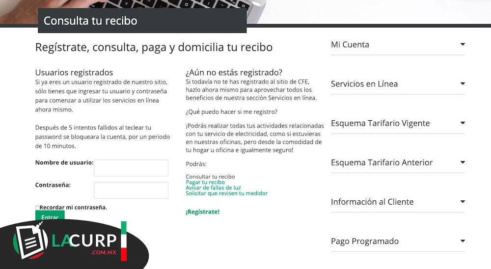 Página oficial de consulta de los recibos CFE