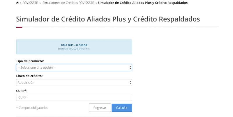 Simulador de Crédito Aliados Plus y Crédito Respaldados del FOVISSSTE