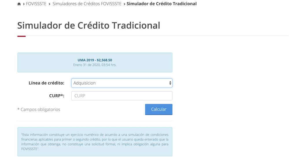 Simulador de crédito tradicional del FOVISSSTE